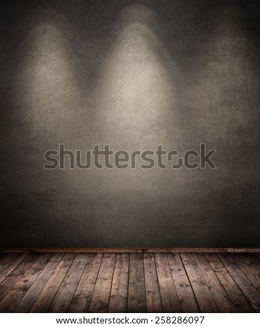 interior room with wooden floor - stock photo