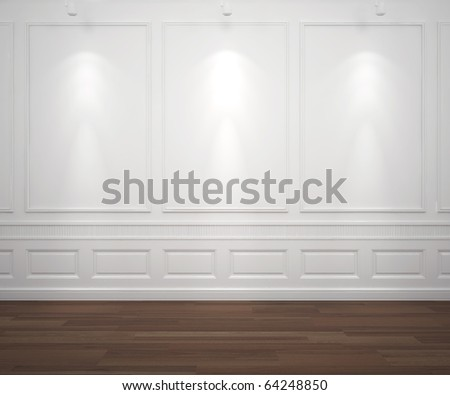 interior scene of classic white empty wall illuminated by 3 spotlights, big copy space - stock photo