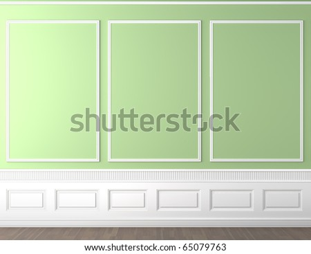 interior scene of empty green and white classic wall with copy space - stock photo