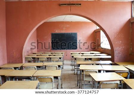 Interior School in Africa - stock photo
