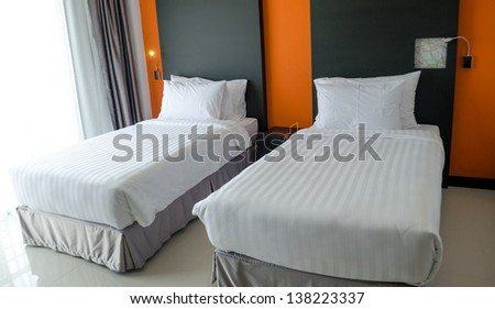 Interior shot of a modern bedroom. - stock photo