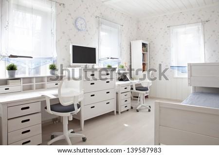 Interior shot of kid's room in sunlight  - stock photo
