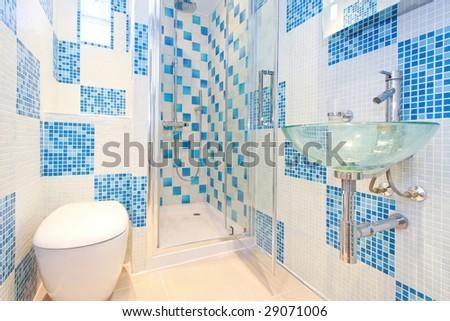 Interior shot of modern and new blue lavatory - stock photo