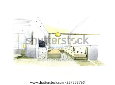 """Interior sketch design of """"Living Room"""". Watercolor sketching idea on white paper background. - stock photo"""