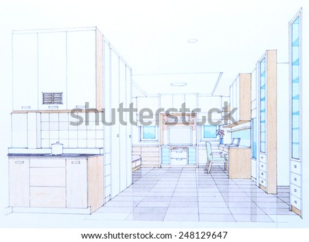 Interior sketch of living room - stock photo
