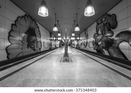 Interior Space of Moosach U Bahn Station in Black and White, Munich, Germany - 31 Jan 2016: It was opened on 11 December 2010 and currently forms the terminus of line U3 - stock photo