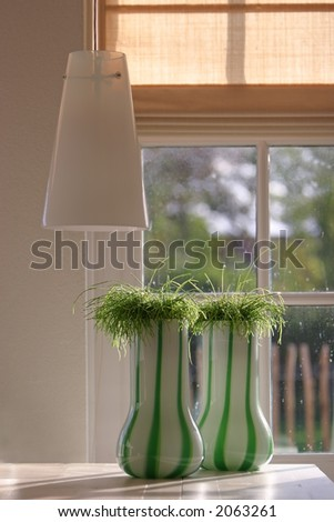 interior . two vases on a wooden tablr - stock photo