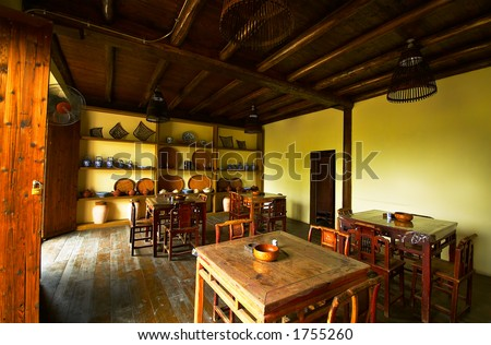 Interior view of a chinese tea house. More with keyword Group6F. - stock photo
