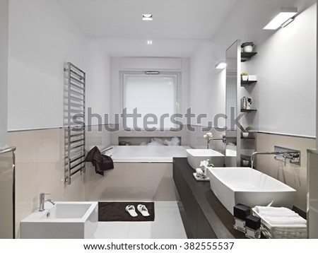 interior view of a modern bathroom with bathtub  and wood floor - stock photo