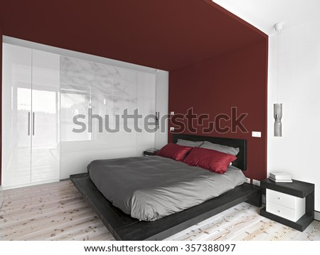 interior view of a  modern bedroom with wall cupboard and wood floor - stock photo
