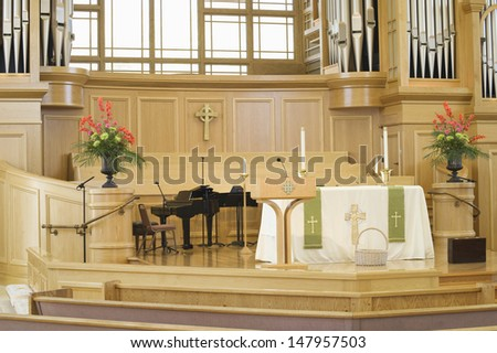 Interior view of a modern church - stock photo