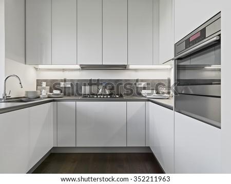 interior view of a modern kitchen - stock photo