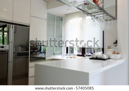 Interior view of a modern kitchen - stock photo