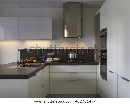 interior view of a modern kitchen with fresh fruit on the worktop near at sink - stock photo