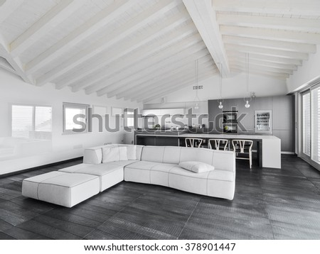 interior view of a modern living room with wood floor in the attic room , in foreground the fabric sofa - stock photo