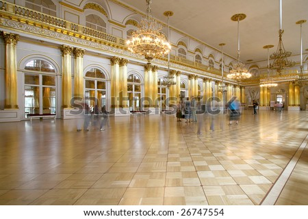Interior view of Armorial Hall of the Winter Palace, St Petersburg, Russia - stock photo