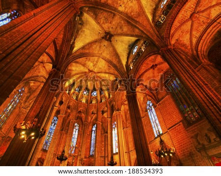 Interior view of Cathedral of the Holy Cross and Saint Eulalia in Barcelona, Catalonia, Spain - stock photo