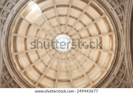 Interior view of circular rotunda in Cathedral of Ildefonso in Merida, Yucatan, Mexico - stock photo