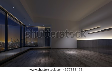 Interior view of empty dimly lit room with counters over hardwood flooring and large windows facing city. 3d Rendering. - stock photo