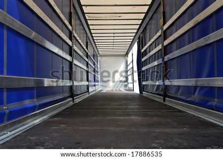 Interior view of empty semi truck lorry - stock photo