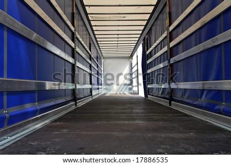 Interior view of empty semi truck lorry - stock photo