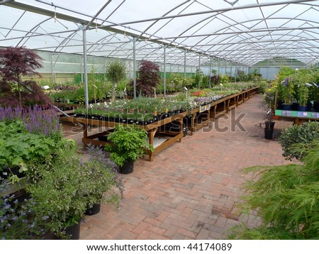 interior view of garden centre - stock photo