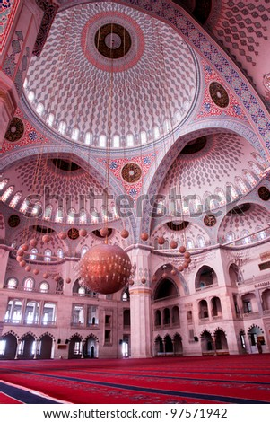 Interior view of Kocatepe Mosque in Ankara, Turkey - stock photo