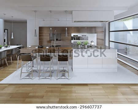 Interior View Of Luxury Kitchen And Dining Room . 3D render - stock photo