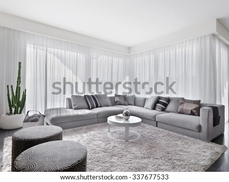interior view of modern living room with sofa and carpet o - stock photo