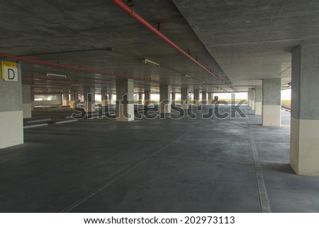 Interior view of  parking lot - stock photo