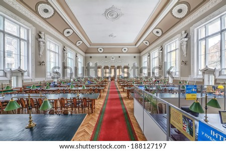Interior view of reading area of Odessa National Research M. Gorky Library. Ukraine, Odessa - 19 april 2014 - stock photo