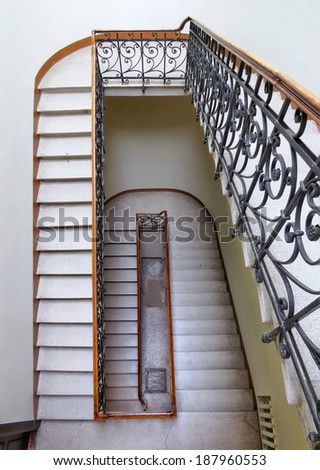 Interior view of Stairs area of Odessa National Research M. Gorky Library. Ukraine, Odessa - 19 april 2014 - stock photo