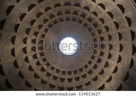 Interior view of the dome of the Pantheon in Rome, Italy. - stock photo