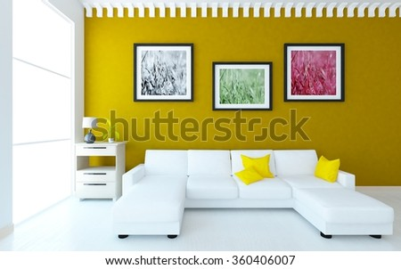 interior with a white sofa. 3d interior - stock photo