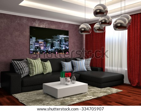 interior with black sofa. 3d illustration - stock photo
