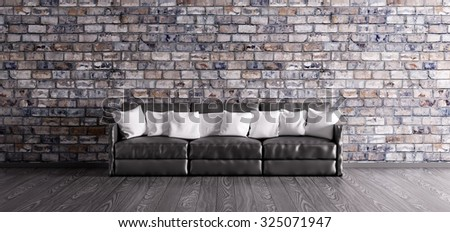 Interior with black sofa over the brick wall 3d render - stock photo