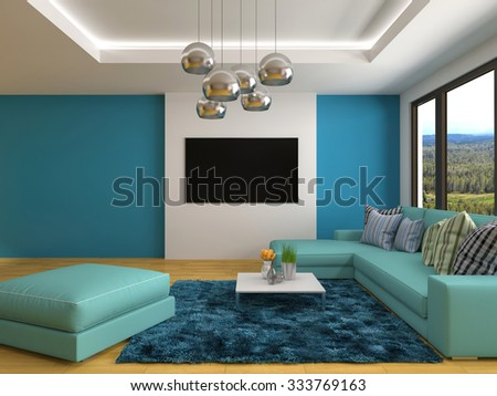 interior with blue sofa. 3d illustration - stock photo