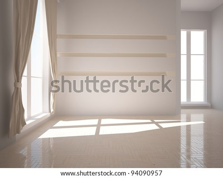 interior with curtains - stock photo