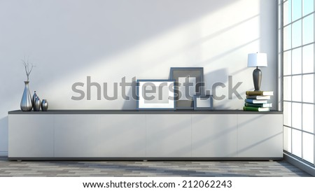 Interior with empty pictures, vases and lamps on the books - stock photo