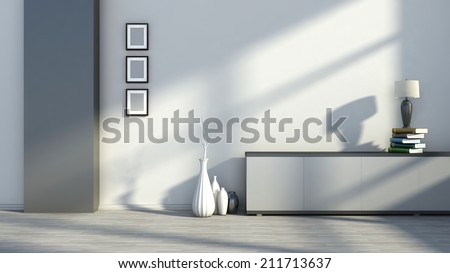 Interior with empty pictures, vases and table lamps on the books - stock photo