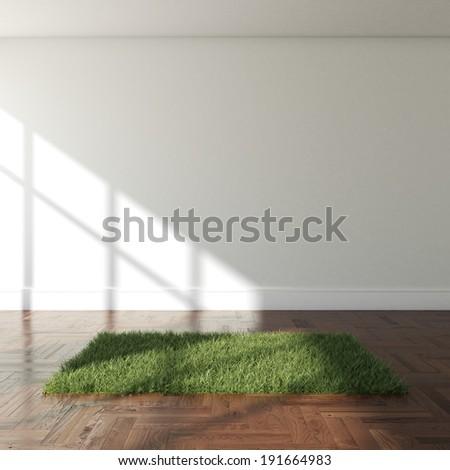 Interior with grass carpet - stock photo