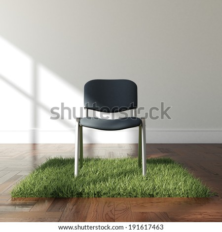 Interior with grass carpet and chair - stock photo
