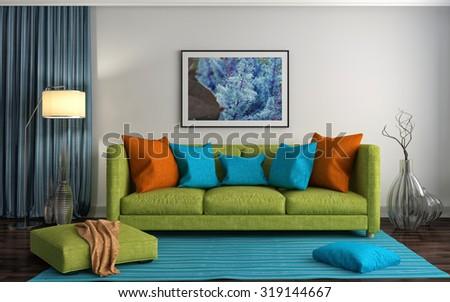 interior with green sofa. 3d illustration - stock photo