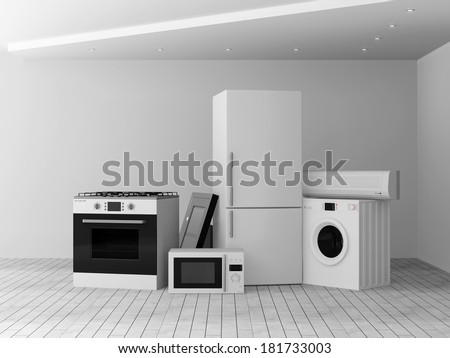 Interior with group of home appliances. Refrigerator, Gas cooker, Microwave, Cooker hood, Air conditioner and Washing machine. - stock photo