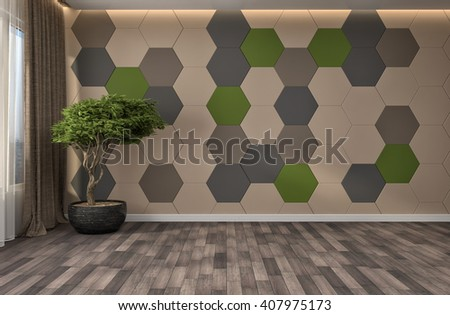interior with large window. 3d illustration - stock photo