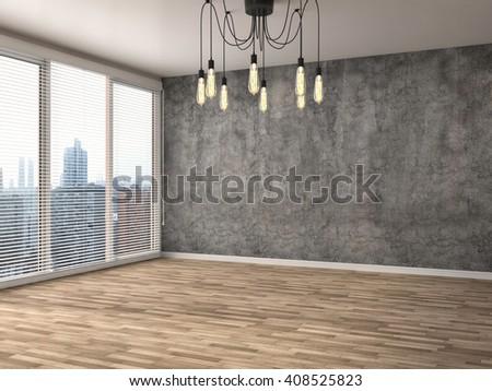 interior with large window. 3d illustration - stock photo