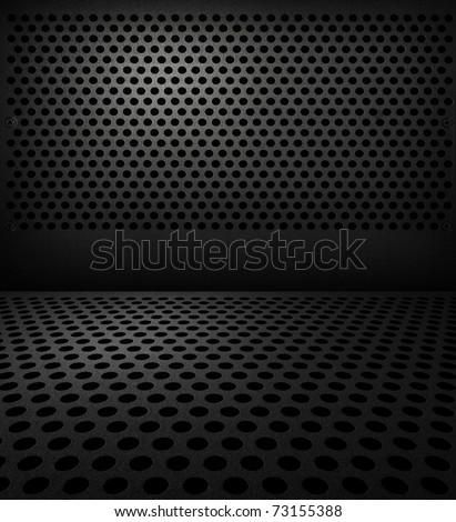 Interior with net circle floor and an circle dark wall - stock photo