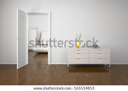 Interior with open door and cabin with decoration - stock photo