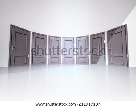 interior with seven closed doors in 3D circle illustration - stock photo