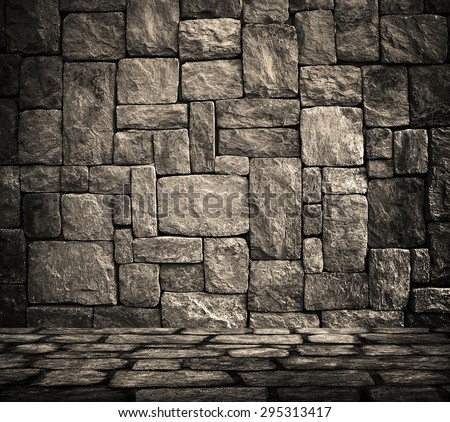 interior with stone wall background - stock photo